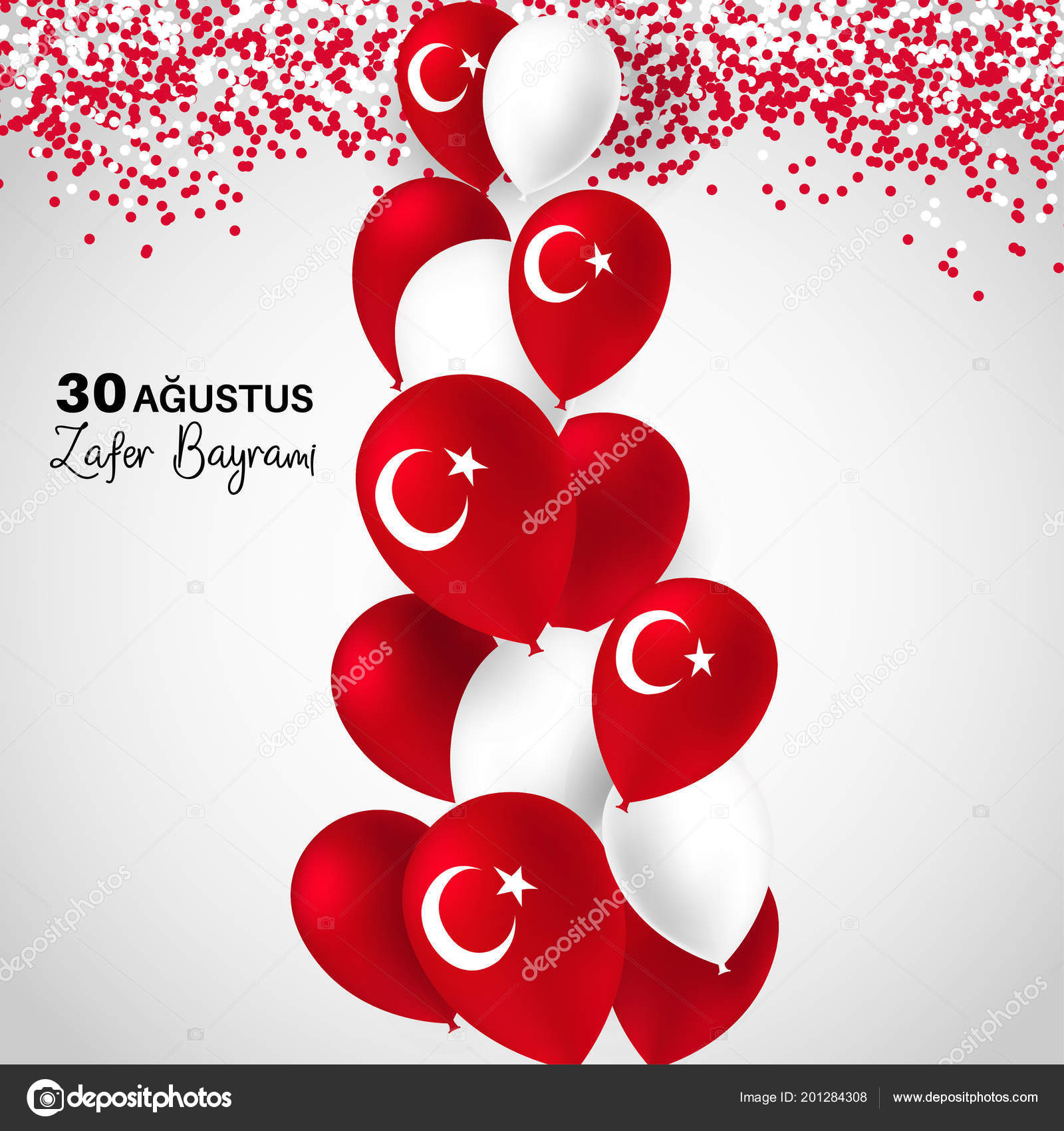 August turkey victory day zafer bayrami greeting card turkish turkey victory day zafer bayrami greeting card turkish ballons confetti isolated on white background patriotic symbolic background vector illustration m4hsunfo