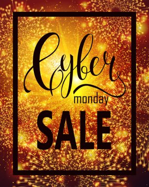Cyber Monday Sale label. Promotional shining banner template with lettering composition sparkles, lights