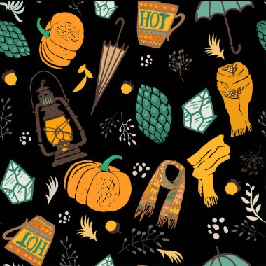 Autumn seamless pattern. Vector illustration with handdrawn doodles, orange pumpkin, umbrella, lantern, cone, cup of hot tea or coffee, scarf, branches,flowers, acorns and dots, on black background