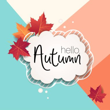 Autumn template with Bright fall maple leaves. Poster, card, label, banner design. Bright geometrical background. Vector illustration EPS10