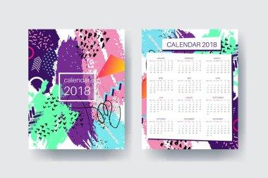 Calendar 2018 template design, bright contemporary colors cover.
