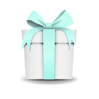 Square White Gift Box with Tiffany color, mint, light-green Ribbon and Bow Isolated on Background. Icon