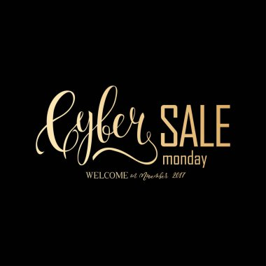 Cyber Monday Sale label. Promotional banner template with gold lettering composition isolated on black