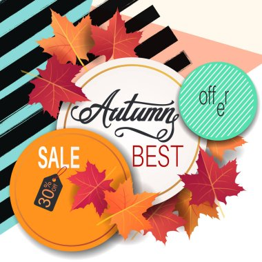 Bright banner for autumn sale with maple autumn leaves on geometric background with circles and lines. Vector illustration.