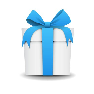 Square White Gift Box with Blue Ribbon and Bow Isolated on Background. Icon