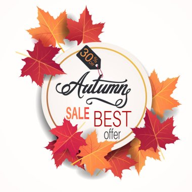 Autumn sale banner with colorful bright maple fall leaves. Vector illustration with discount tags circles background