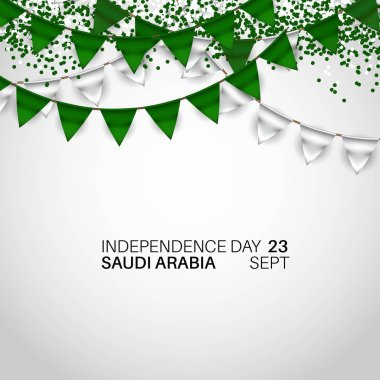 Festive Banner with National Flag color Buntings of The Saudi Arabia. Happy independence day. The inscription Kingdom of Saudi Arabia 23rd September - Day of the United Kingdom Saudi
