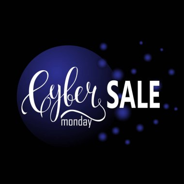Cyber Monday Sale label. Promotional banner template with lettering composition with 3D blue balls