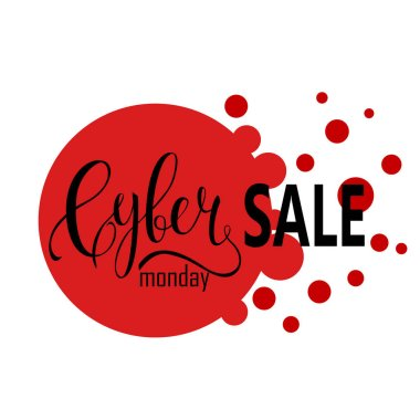 Cyber Monday Sale label. Promotional banner template with lettering composition