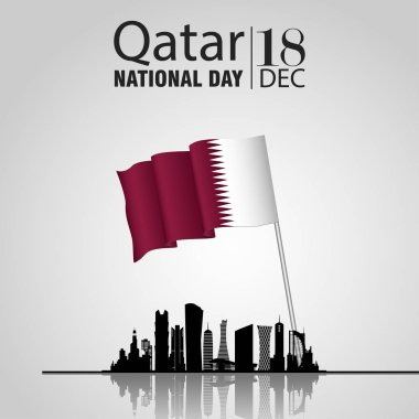 Qatar national day on 18-th december. With national flag and Silhouette of the City, Modern Architectural Buildings
