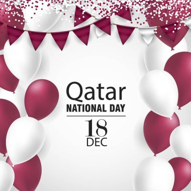Qatar national day on 18-th december. With national flag colors Ballons and Bantings, with Confetti