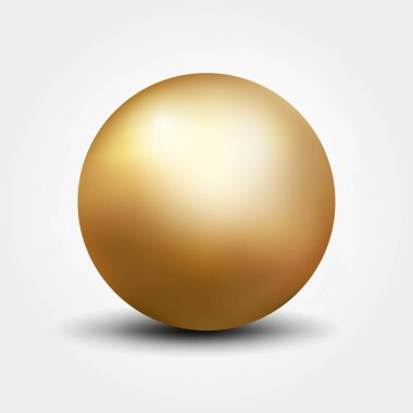 3D realistic vector illustration of gold ball isolated on white background
