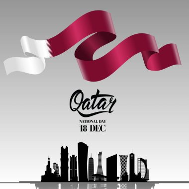 Qatar national day on 18-th december. With national waving flag and Silhouette of the City, Modern Architectural Buildings