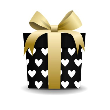 Square 3D Gift Box with Ribbon and Bow Isolated on Background. With hearts pattern