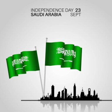 Festive Banner with National Flags and City skyline of The Saudi Arabia. Happy independence day. The inscription Kingdom of Saudi Arabia 23rd September - Day of the United Kingdom Saudi