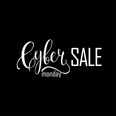 Cyber Monday Sale label. Promotional banner template with lettering composition isolated on black