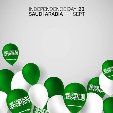 Festive Banner with National Color Flag Balloons of The Saudi Arabia. Happy independence day. The inscription Kingdom of Saudi Arabia 23rd September - Day of the United Kingdom Saudi