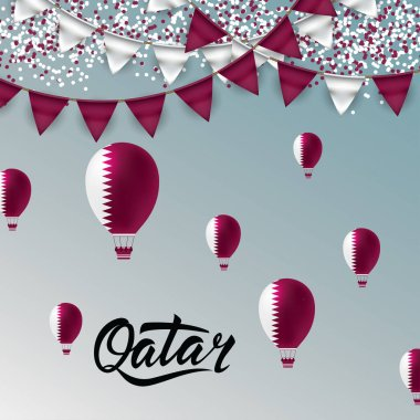 Qatar Lettering. With national flag colors Ballons and Bantings, with Confetti