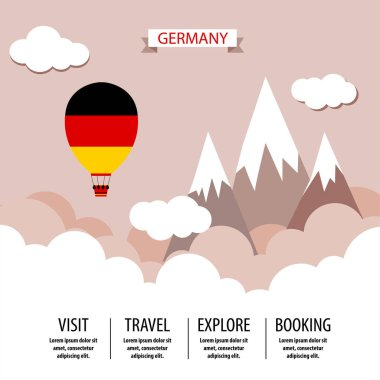 Germany. Balloon in National Colors on Mountains Background. Travel Templatem Flyer, Design. Vector Illustration