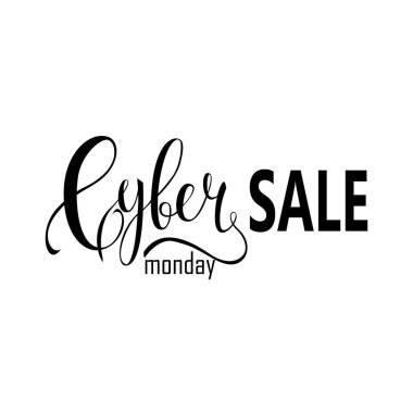 Cyber Monday Sale label. Promotional banner template with lettering composition isolated on white