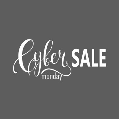 Cyber Monday Sale label. Promotional banner template with lettering composition isolated on grey
