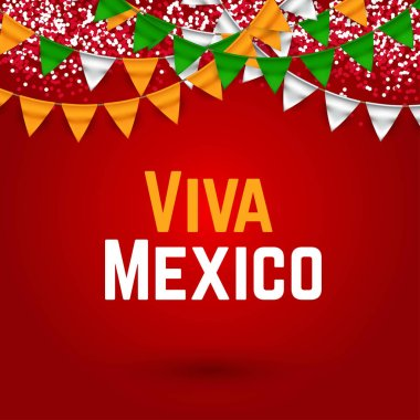 Viva Mexico, traditional mexican phrase holiday with flags vector illustration