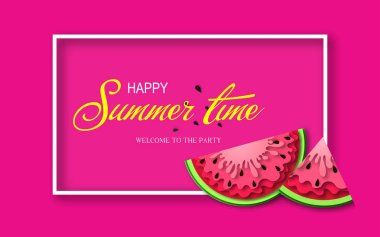 Summer time banner with pieces of watermelon