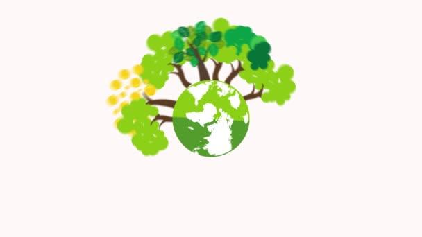 filatura per mondo ambiente giorno concetto verde di eco della terra pianeta terra. Grafico di movimento animato una giornata felice terra per celebrazione di sicurezza ambiente di mondo su disegno del fumetto bianco background.flat