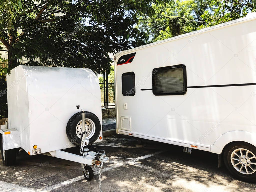 RISHON LE ZION, ISRAEL -JUNE 18, 2018: Trailer travel caravan parked on the street