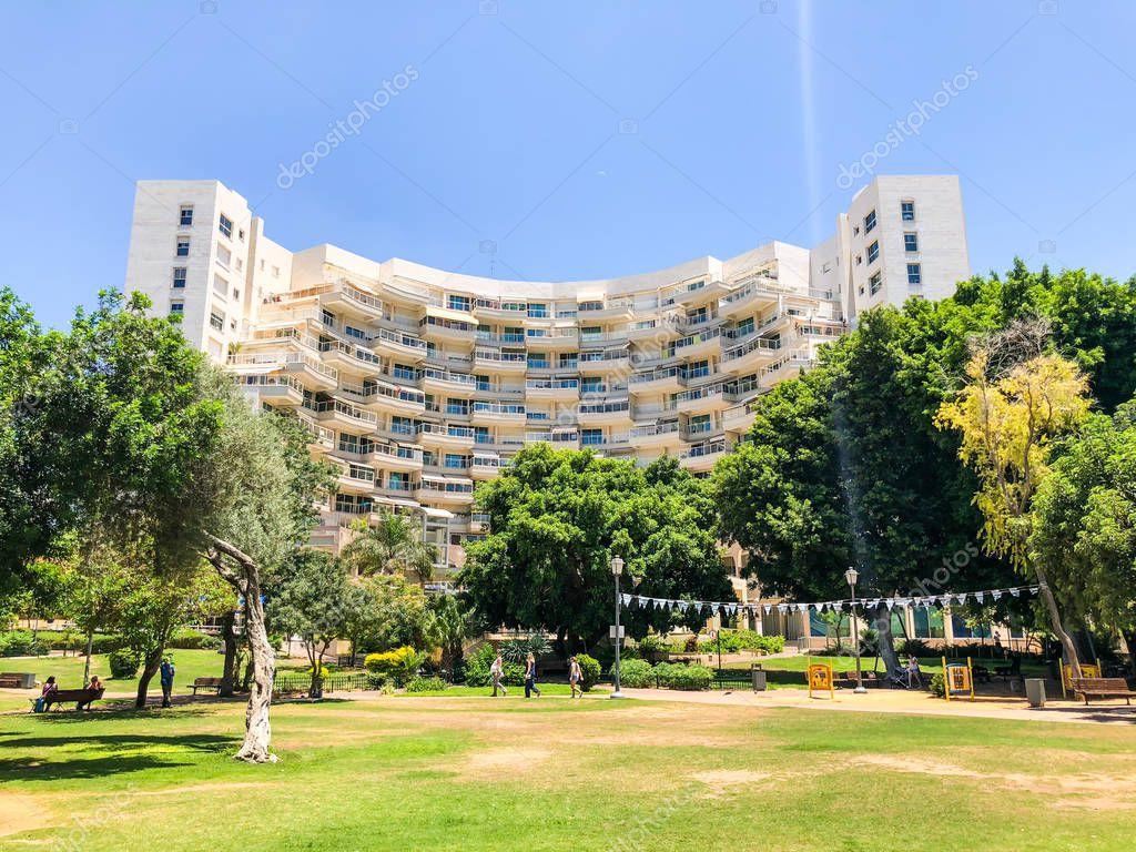 RISHON LE ZION, ISRAEL -  JUNE 18, 2018: View of the central park in Rishon Le Zion, Israel