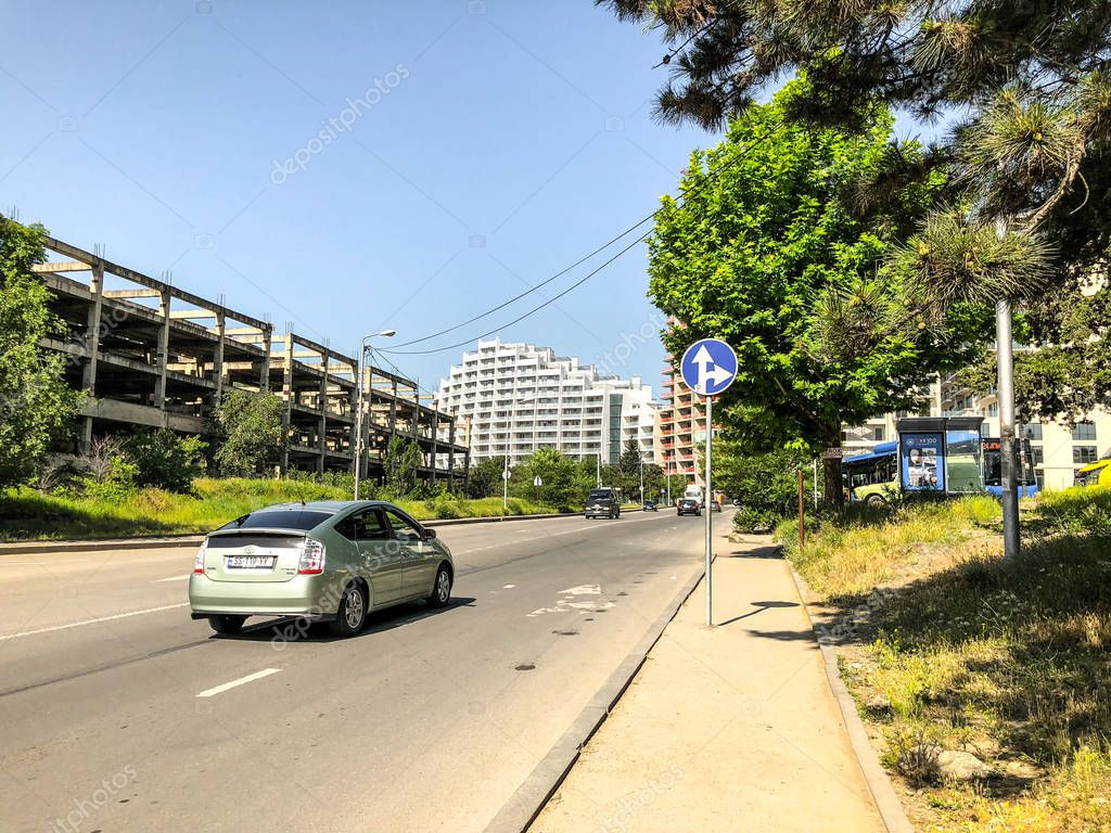 TBILISI, GEORGIA -  - MAY 17, 2018: Road in the city, cars on the road. City in spring