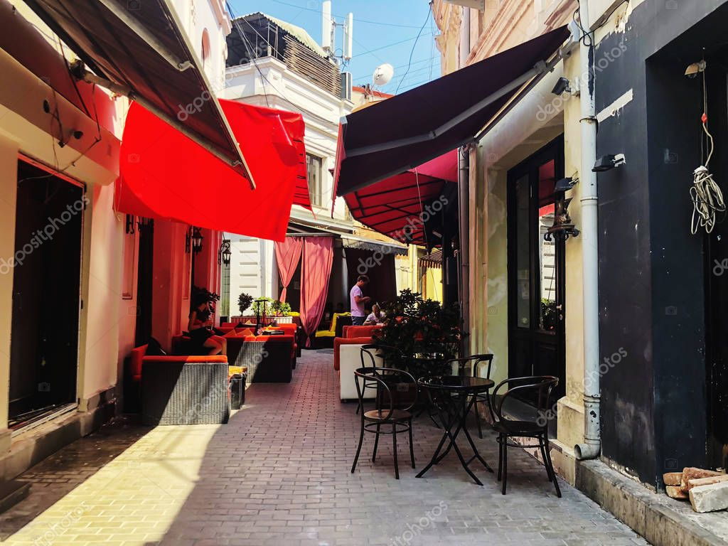 TBILISI, GEORGIA - July 10, 2018: Outdoor Cafes In The Shardeni Street Of Old Town Tbilisi, Georgia.