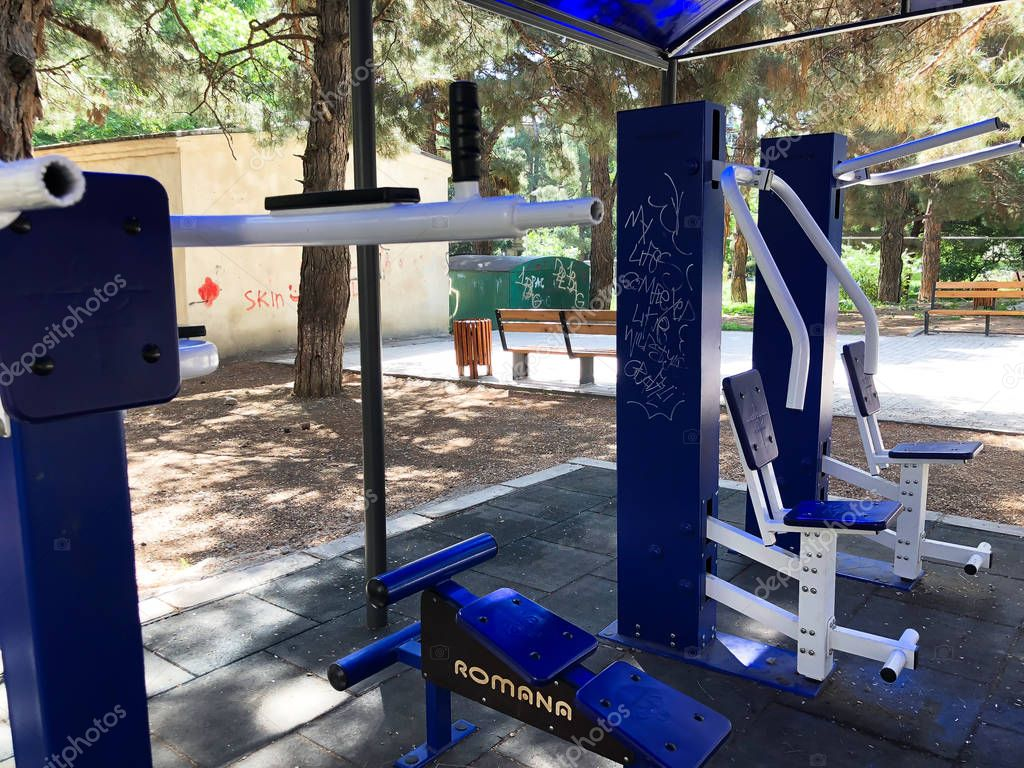 TBILISI, GEORGIA-MAY 17, 2018: Exercise equipment in a public park in Tbilisi, Georgia