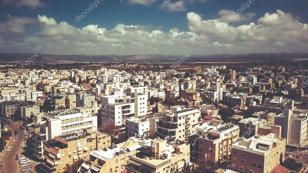 NAHARIYA, ISRAEL-MARCH 9, 2018: Aerial view to the city of Nahariya, Israel.