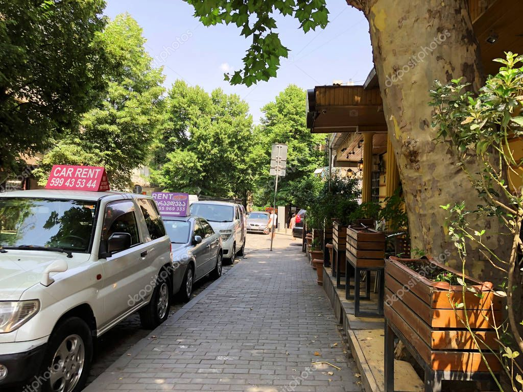 TBILISI, GEORGIA - July 10, 2018: Houses and narrow streets of the old city of Tbilisi, Georgia