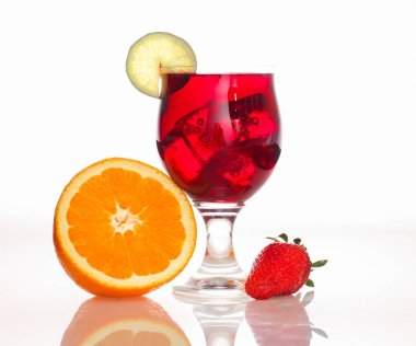 Drinks, fruit cocktail, on white background.