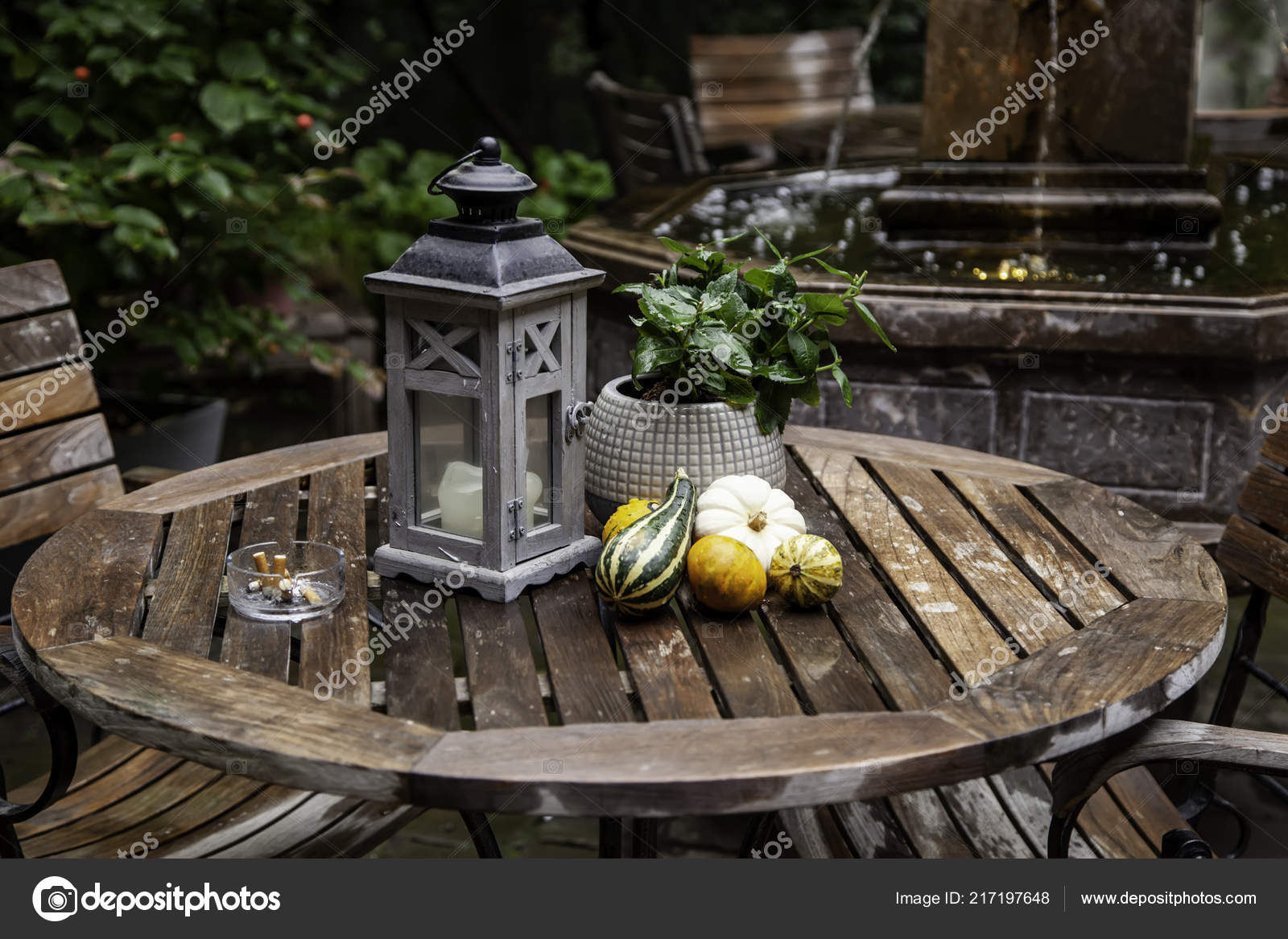 Garden Table Pumpkins Decorated Terrace Detail Halloween