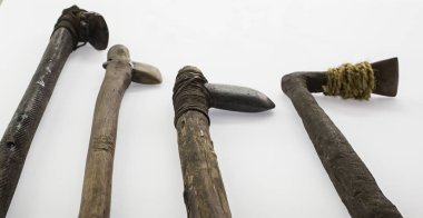 Ancient prehistoric weapons made by hand, detail of prehistoric art