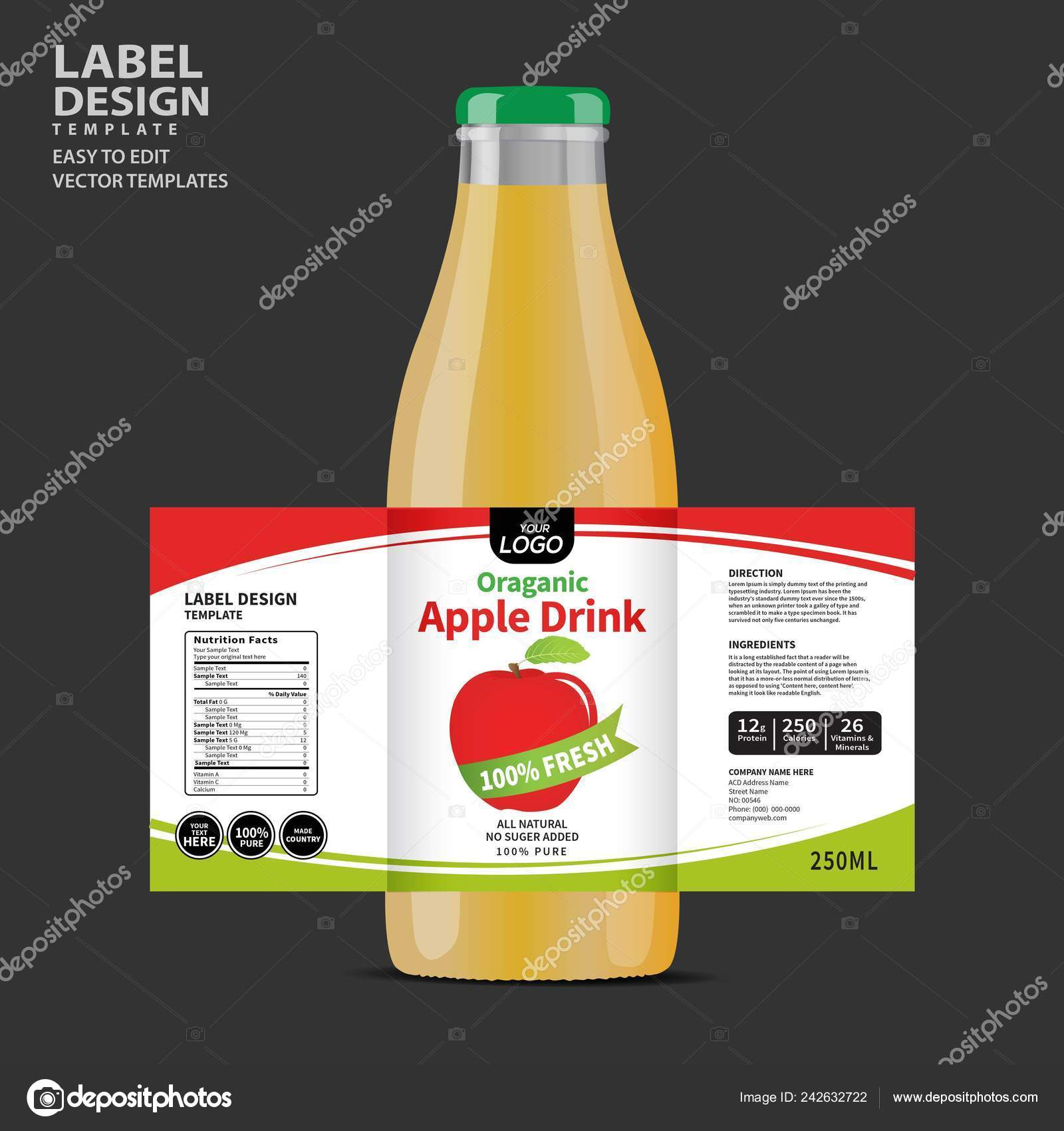 Bottle Label Package Template Design Label Design Mock