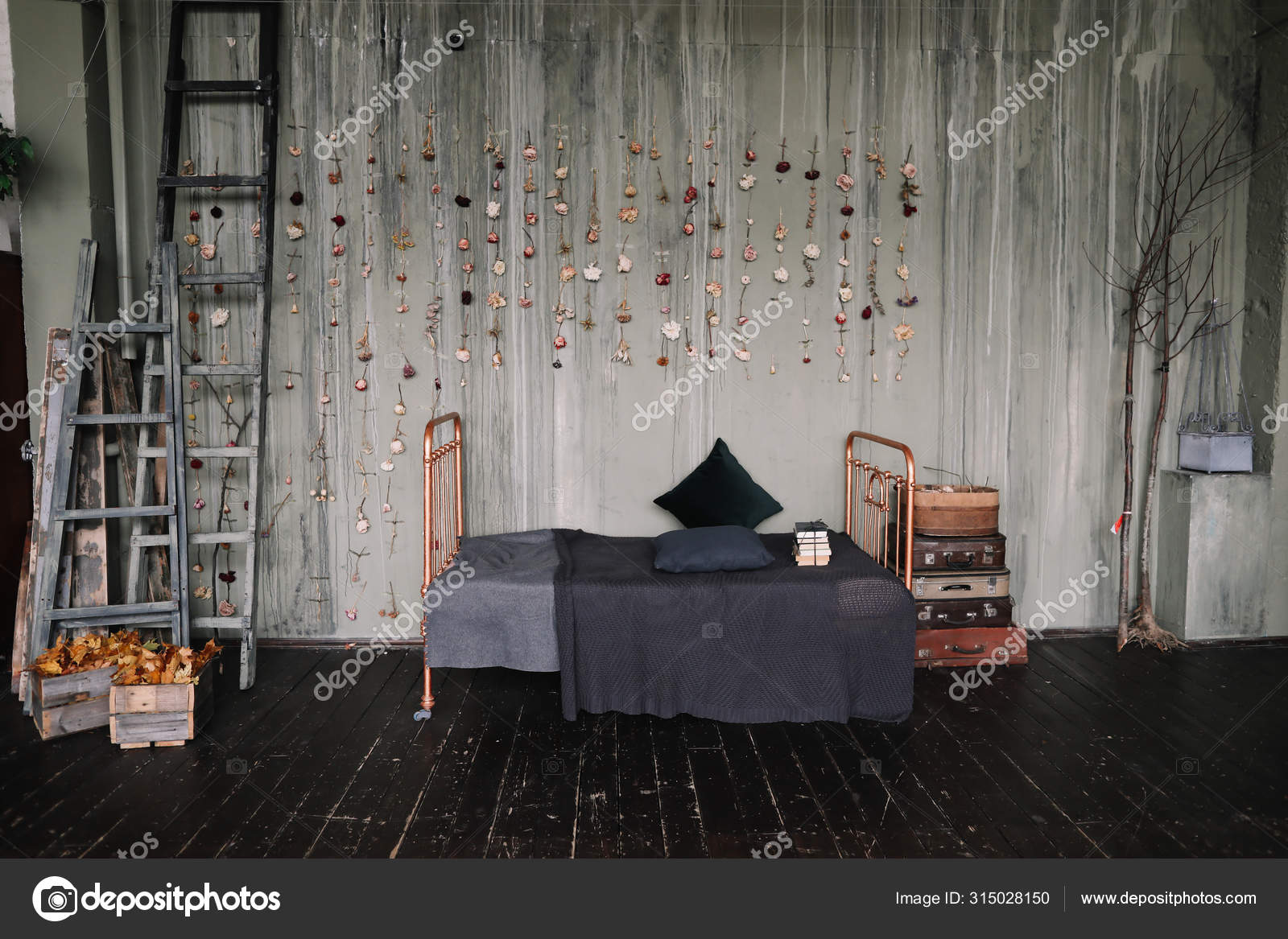 Vintage Bedroom Interior Loft Style Bedroom Vintage Studio Apartment Interior In Dark Colors In Old Style Stock Photo C Gkondratenko 315028150