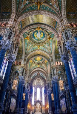 LYON, FRANCE -  JUNE 13, 2019 : The Basilica Notre Dame de Fourviere, built between 1872 and 1884, located in Lyon, France.