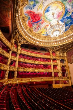 Paris, France - April 23, 2019 - The auditorium of the Palais Garnier located in Paris, France.