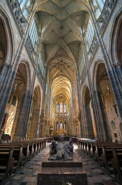 Prague, Czech Republic - May 8, 2019 - The interior of St. Vitus Cathedral inside of the Prague Castle complex built in the 9th century in Prague, Czech Republic.