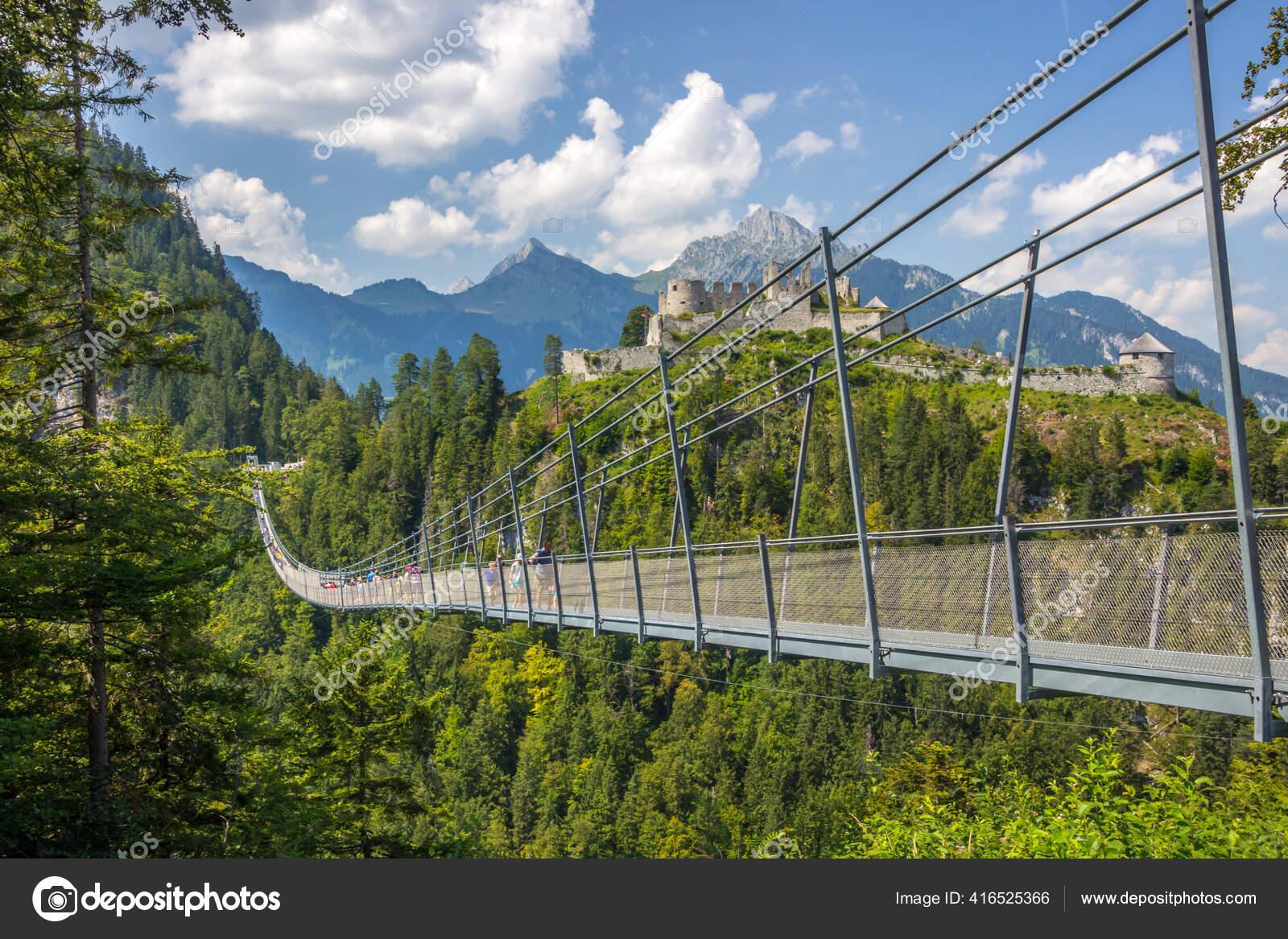 Highlin 20 Suspension Bridge Sunny Day Austrian Alps Stock Photo ...