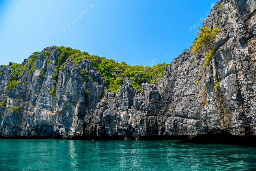 Mu Ko Ang Thong National Park, Gulf of Thailand, Siam, colorful rocky islands with clear water in sunny day