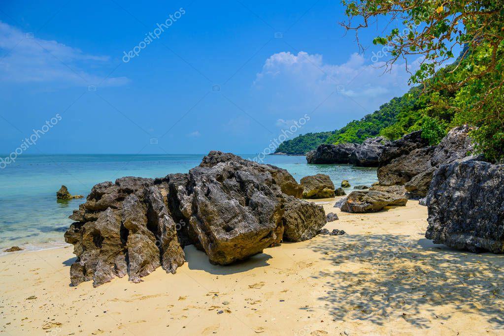 Koh Phaluai, Mu Ko Ang Thong National Park, Gulf of Thailand, Siam, Rocks, sea and blue sky
