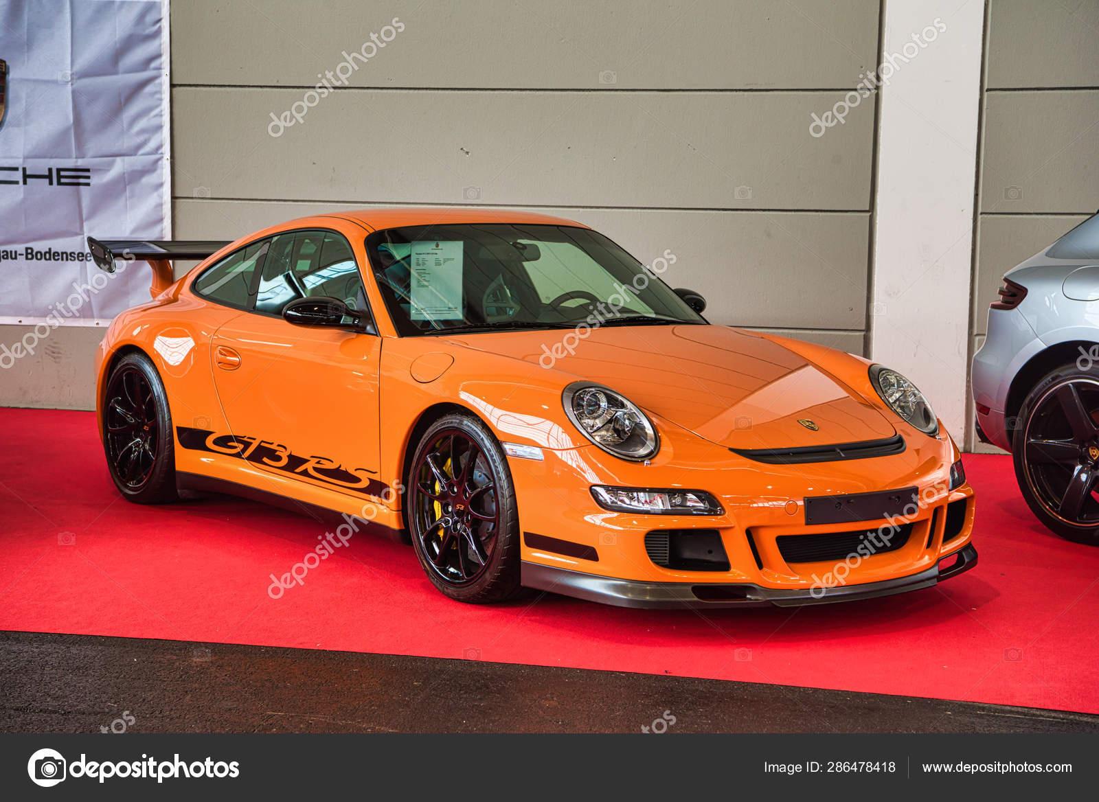 FRIEDRICHSHAFEN , MAY 2019 orange PORSCHE 911 997 GT3 RS