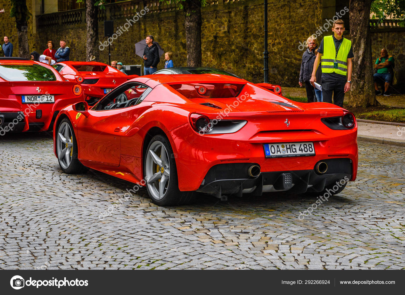 Germany Fulda Jul 2019 Rearview Lights Of Red Ferrari 488 Spider Type F142m Coupe Is A Mid Engine Sports Car Produced By The Italian Automobile Manufacturer Ferrari The Car Is An Update