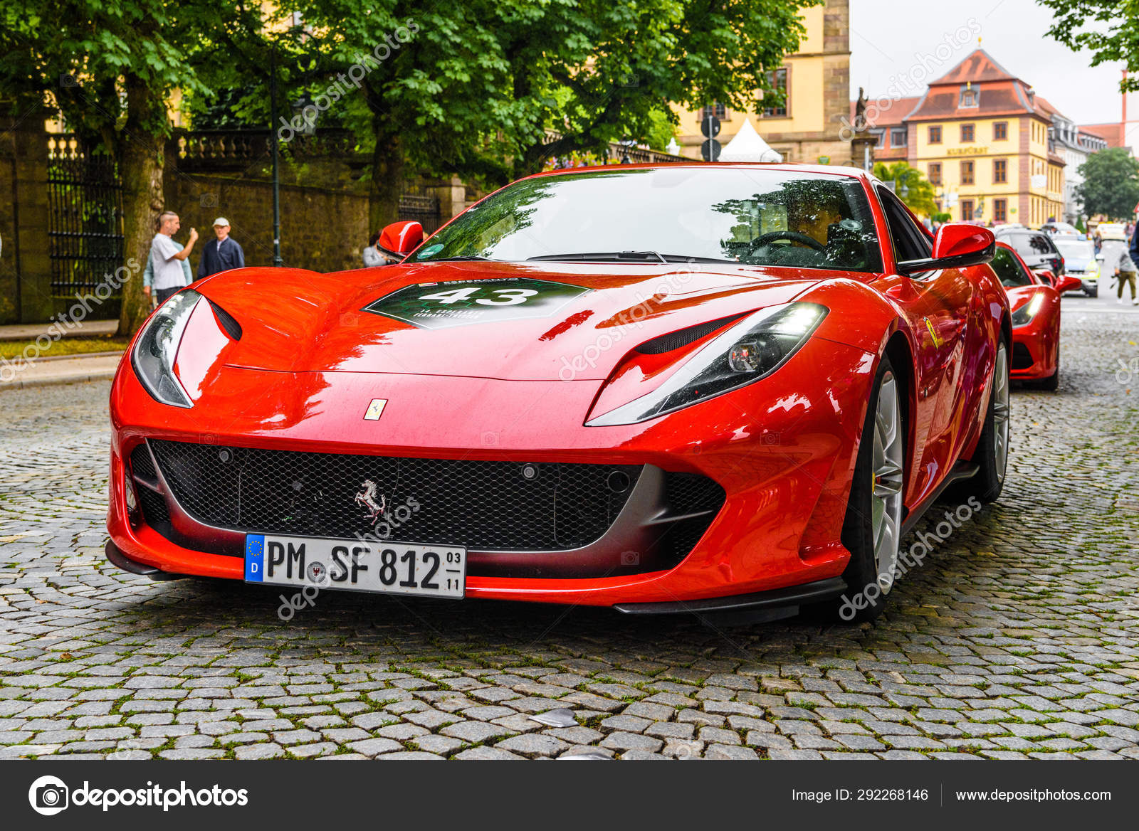 Germany Fulda Jul 2019 Red Ferrari 812 Superfast Type F152m Is A Front Mid Engine Rear Wheel Drive Grand Tourer Produced By Italian Sports Car Manufacturer Ferrari That Made Its Debut At The 2017