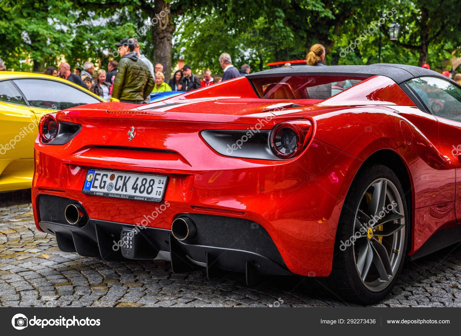 Germany Fulda Jul 2019 Rearview Lights Of Red Ferrari 488 Spider Type F142m Coupe Is A